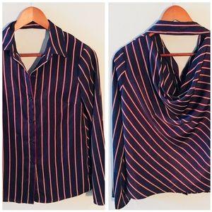 •Drew• Drape Back Striped Button Down Shirt